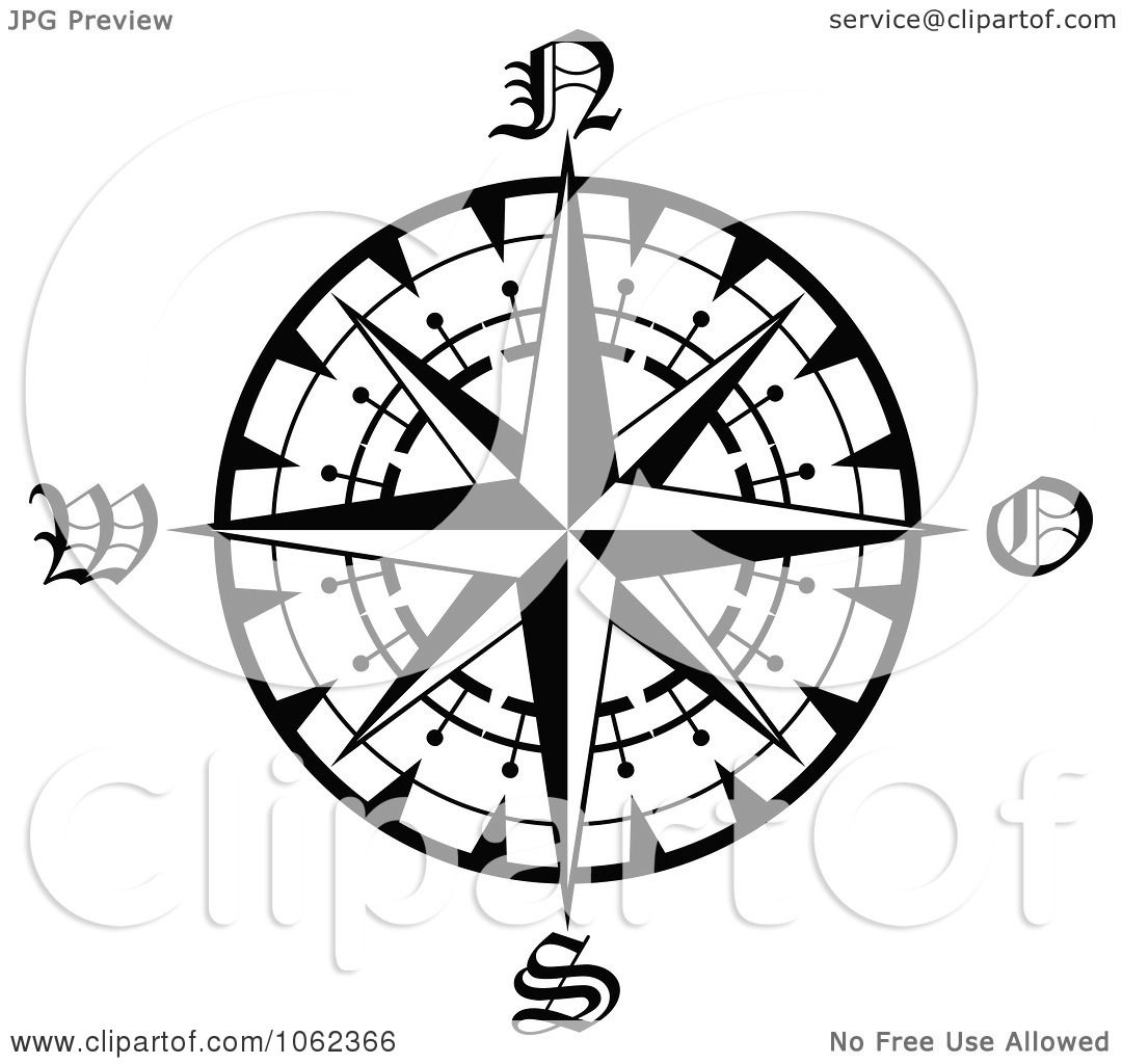 Clipart Compass Rose In Black And White 1