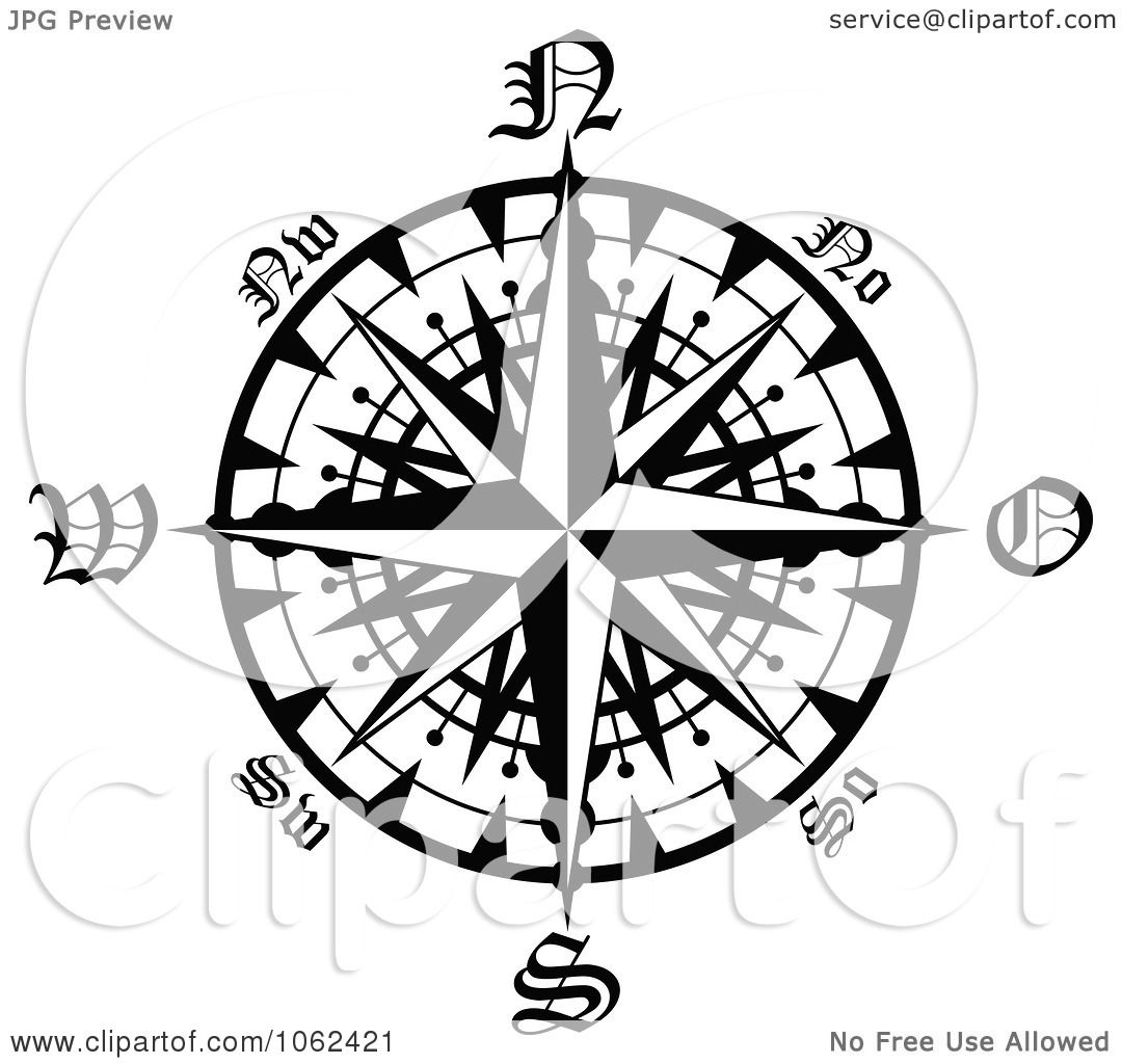 Clipart Compass Rose In Black And White 2