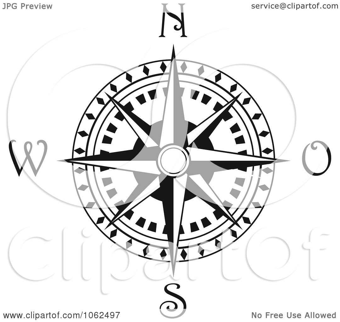 Clipart Compass Rose In Black And White 3