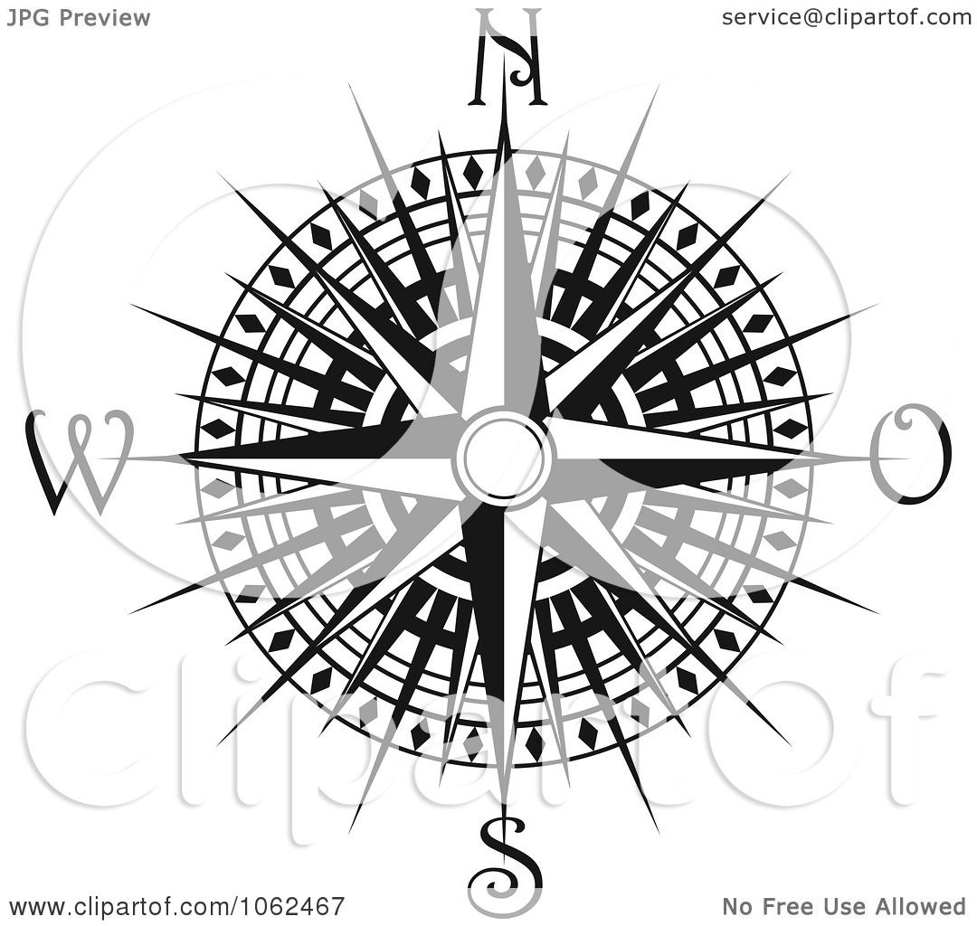 Clipart Compass Rose In Black And White 4