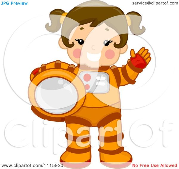 Clipart Cute Girl Astronaut Holding Her Helmet And Waving ...