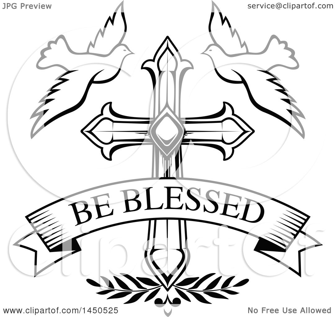 Clipart Graphic Of A Black And White Cross With Doves And