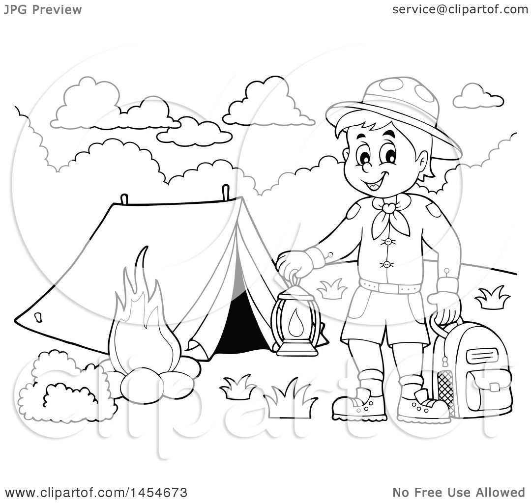 Clipart Graphic Of A Black And White Scout Boy Holding A