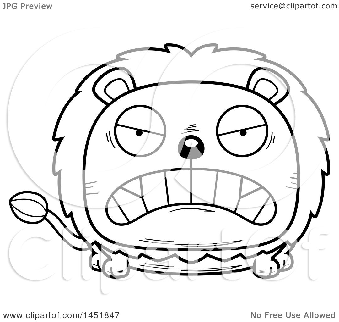 Clipart Graphic Of A Cartoon Black And White Lineart Mad