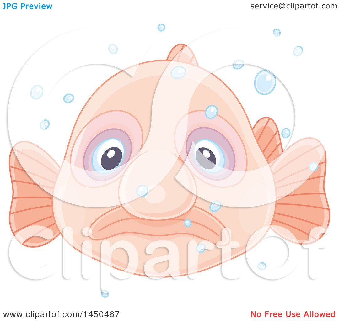 Clipart Graphic Of A Swimming Blobfish And Bubbles Royalty Free