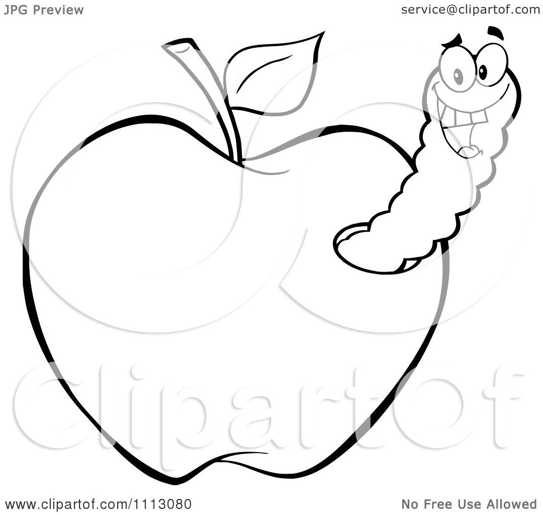 Clipart Happy Outlined Worm In An Apple