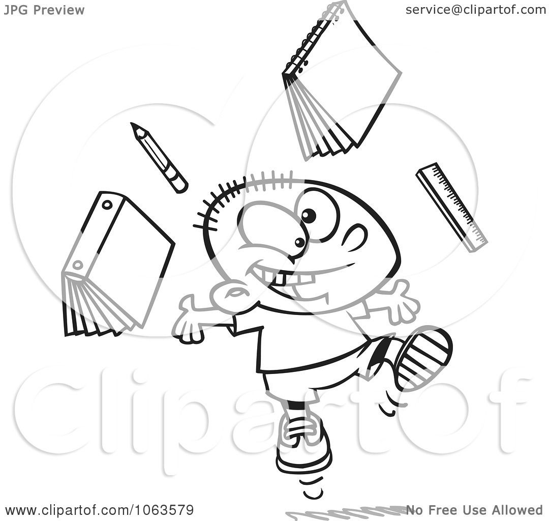 Clipart Happy School Boy Ready For Vacation Black And