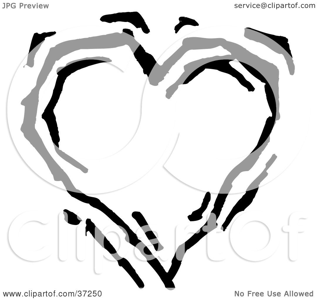 Clipart Illustration Of A Beating Black And White Heart By