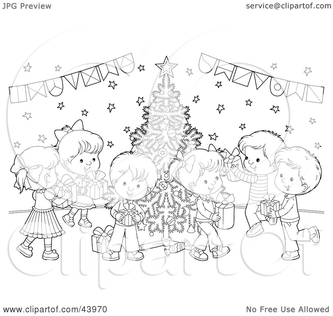 Clipart Illustration Of A Black And White Children With Ts At A Christmas Party Coloring Page