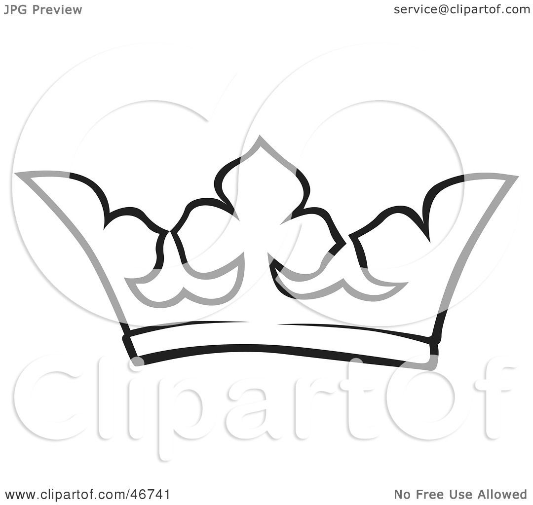 Clipart Illustration Of A Black And White Crown Outline By