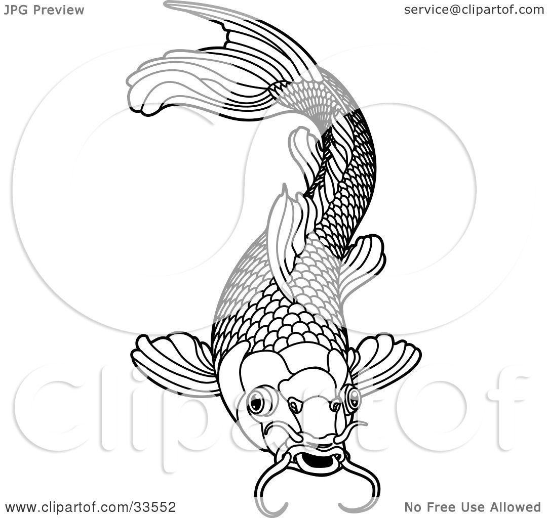 Clipart Illustration Of A Black And White Koi Fish With