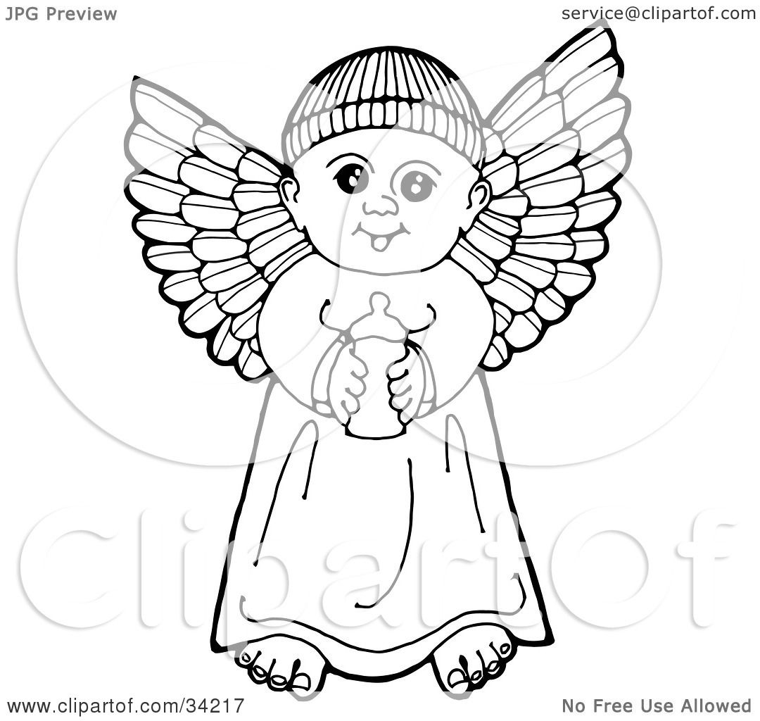 Clipart Illustration Of A Black And White Pen And Ink Drawing Of A Happy Winged Baby Angel