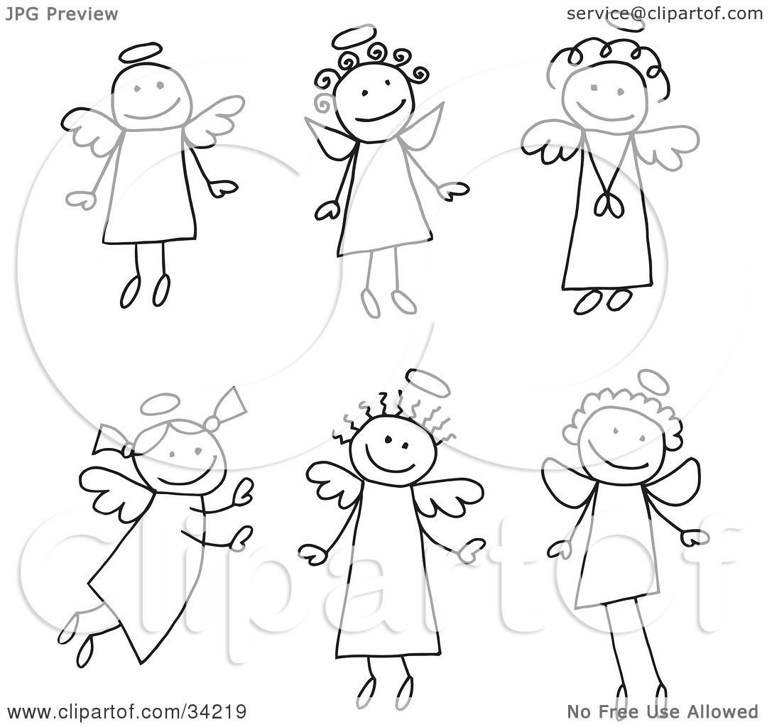 Clipart Illustration Of A Group Of Six Different Stick