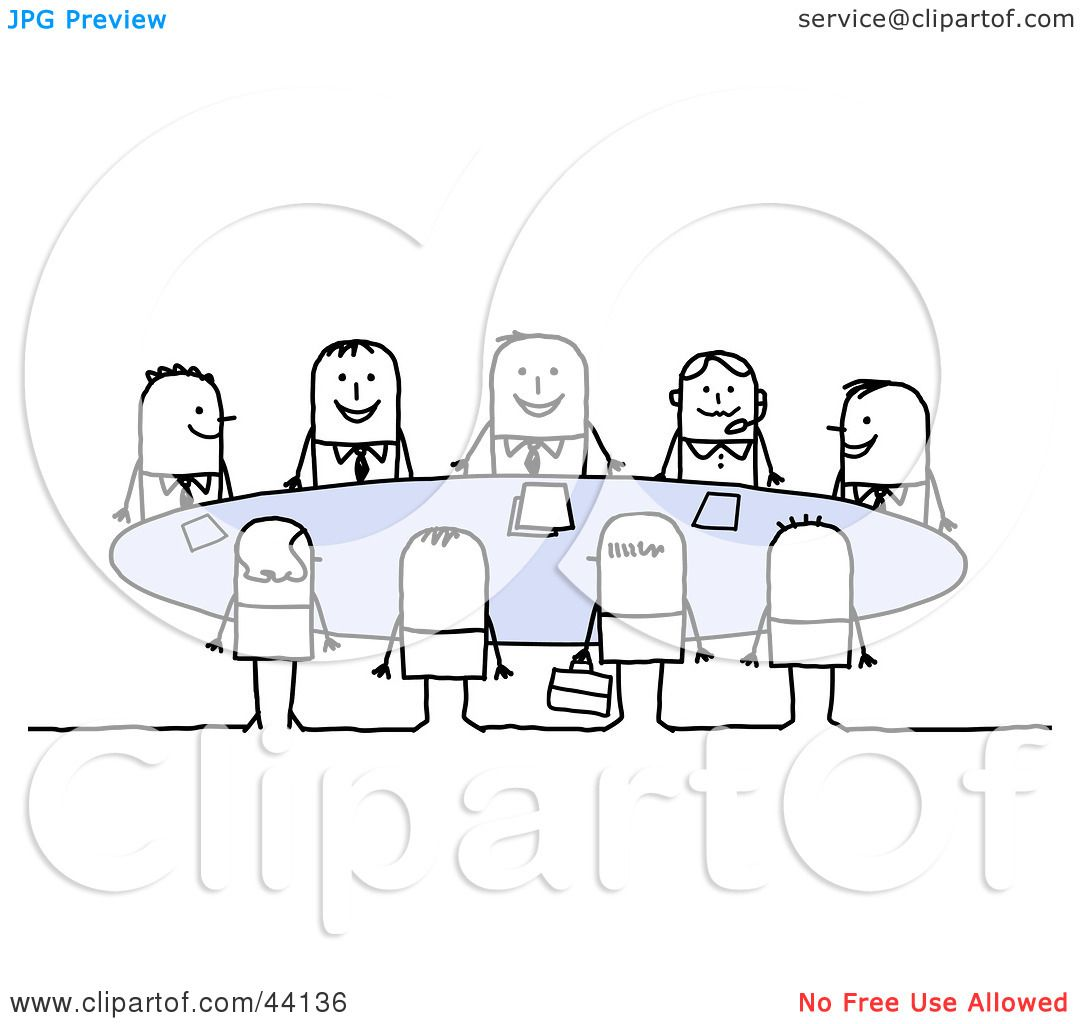 Clipart Illustration Of A Happy Group Of Business Stick People Sitting Around A Table In A