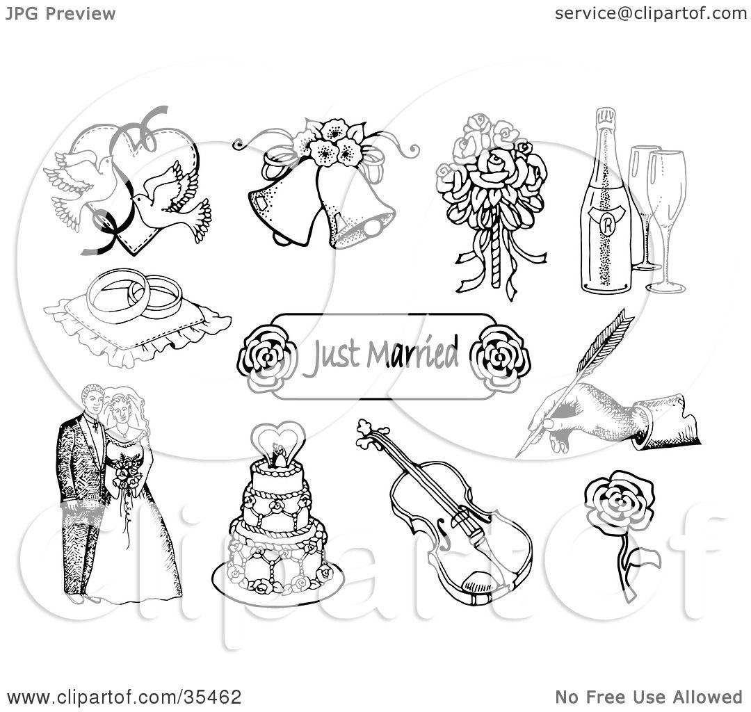 Clipart Illustration Of A Set Of Doves Wedding Bells A
