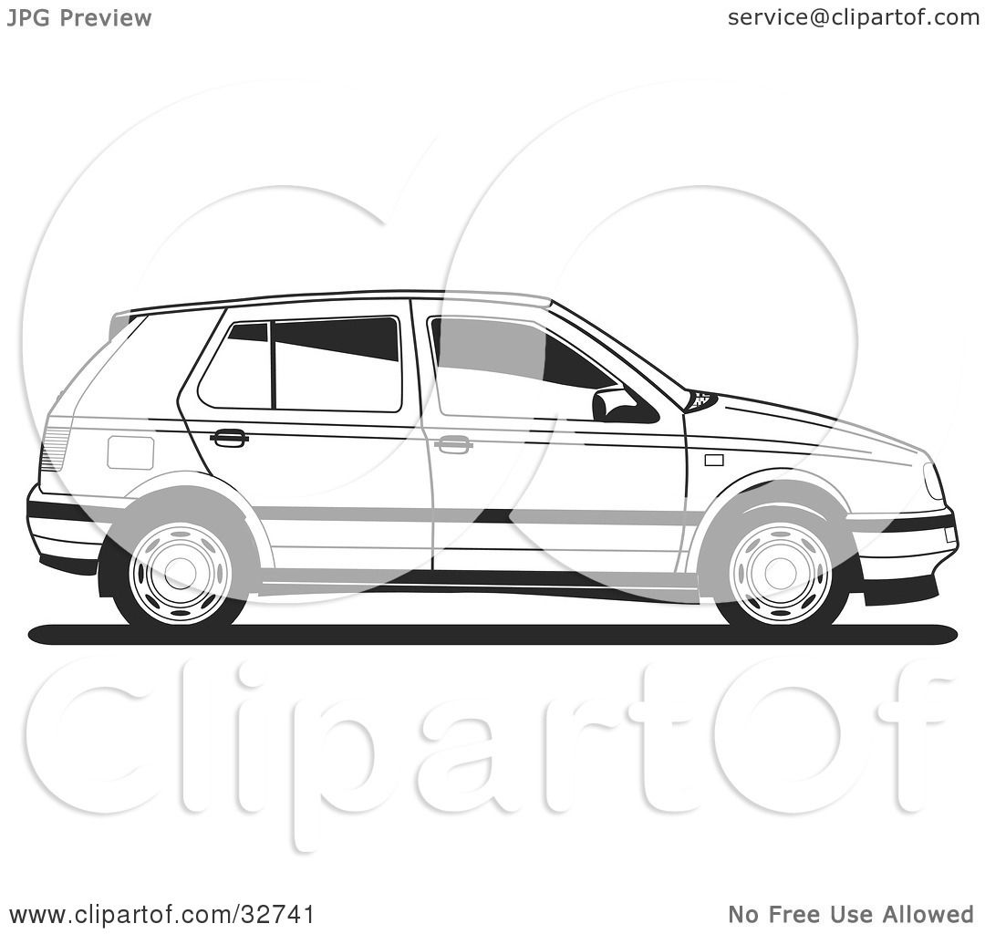 Clipart Illustration Of A Side View Of A Vw Golf Car In