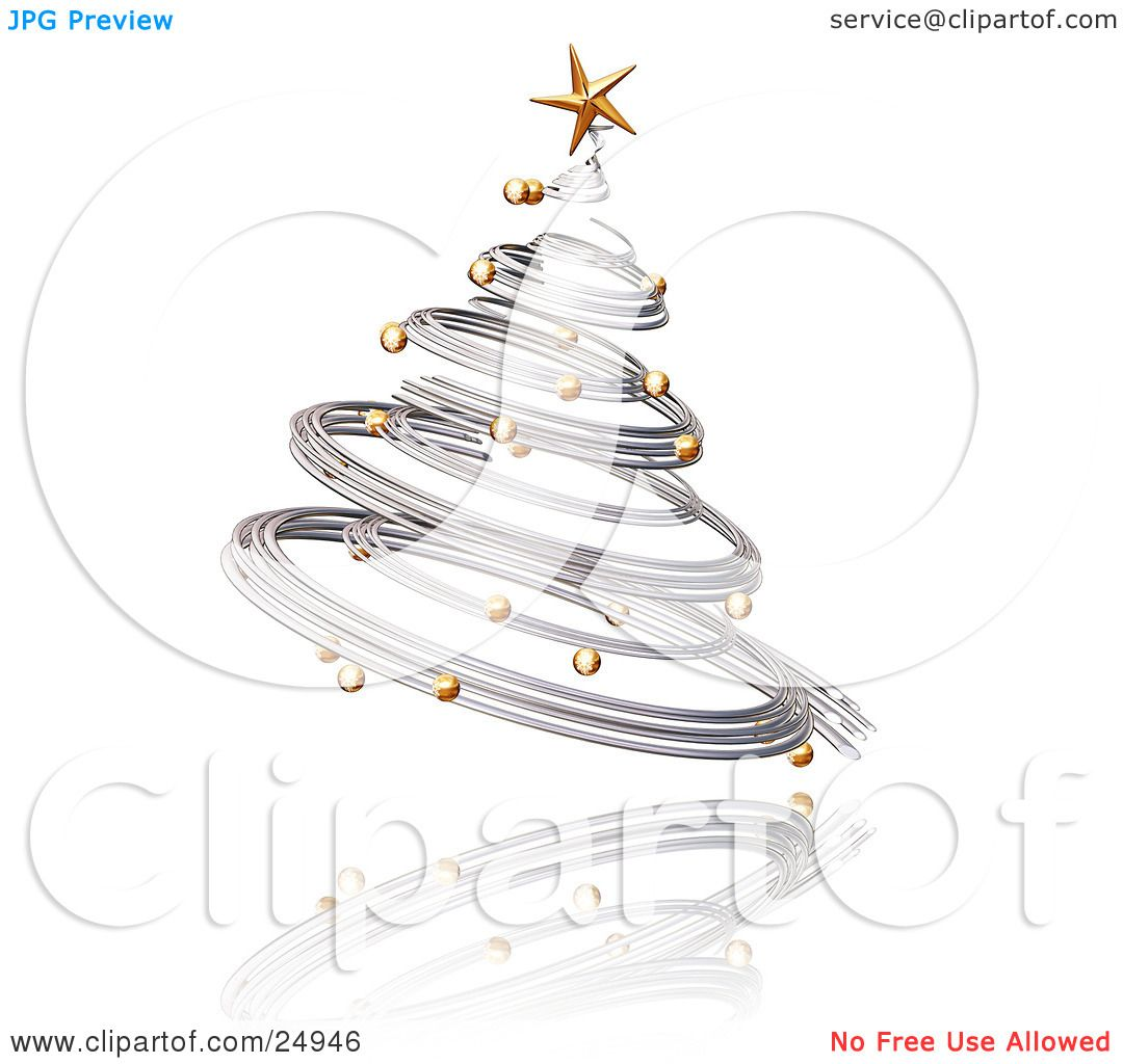 Clipart Illustration Of A Silver Spiraled Christmas Tree