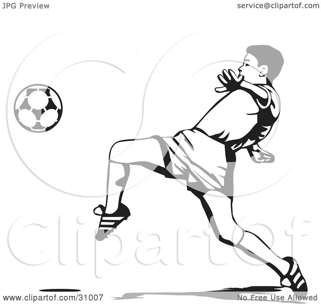 Clipart Illustration Of A Soccer Player Lifting His Leg To