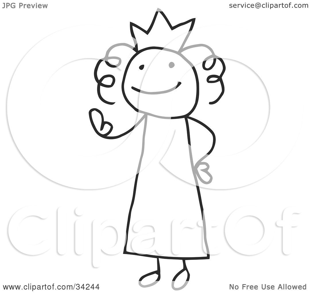 Clipart Illustration Of A Stick Queen Or Princess Wearing