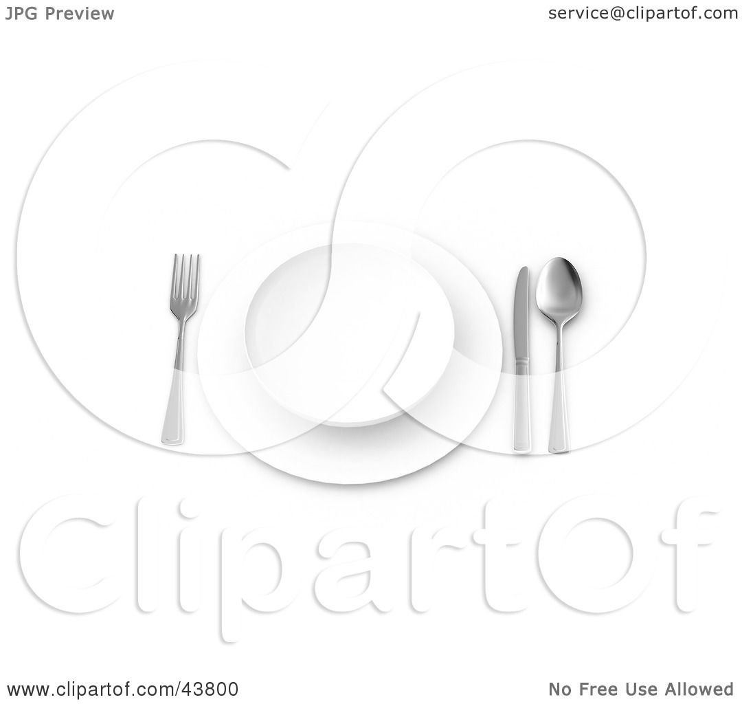 Clipart Illustration Of A Table Place Setting With A Plate