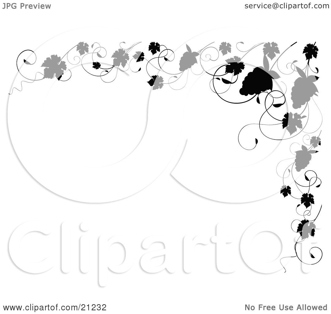 Clipart Illustration Of An Elegant Black And White Border Of Silhouetted G S And G Vines