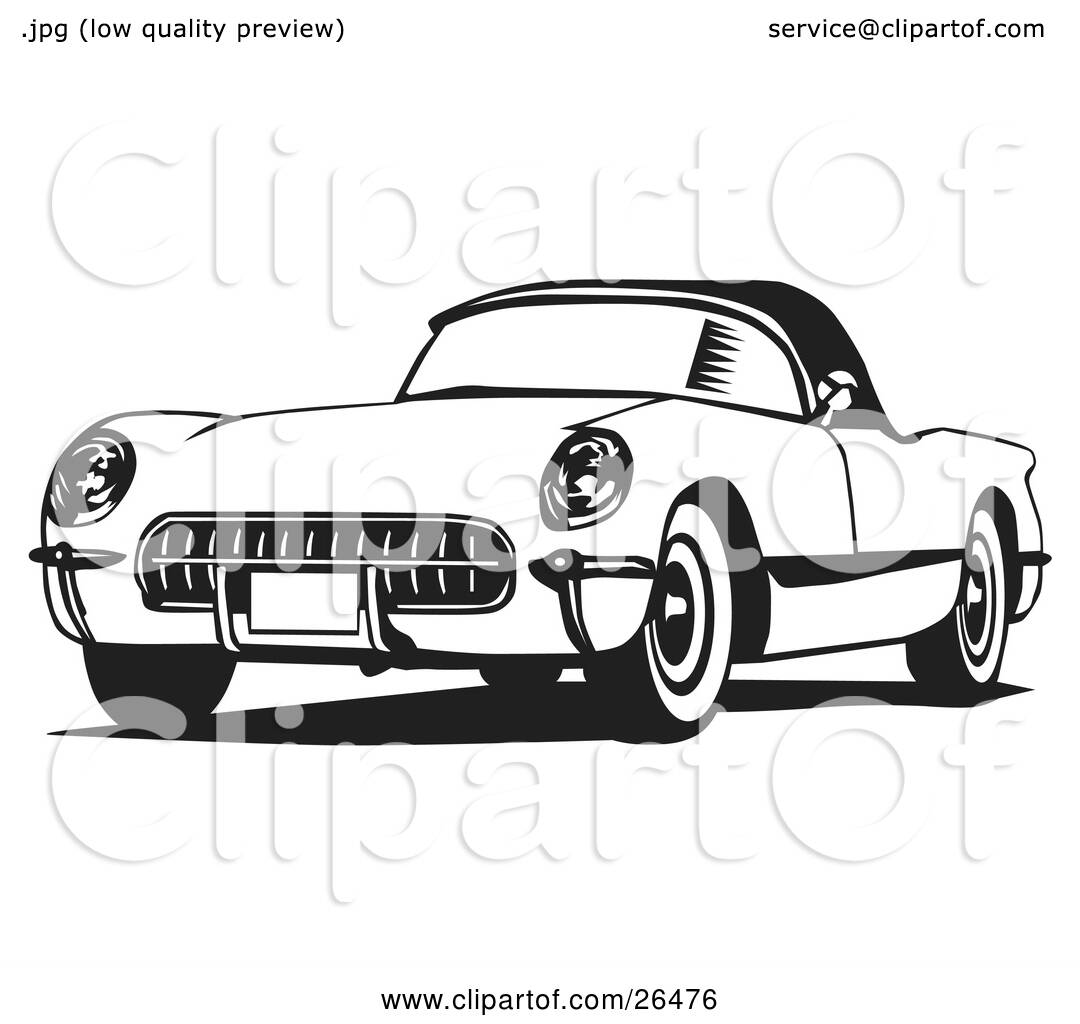 Clipart Illustration Of An Old Corvette Car In Black And