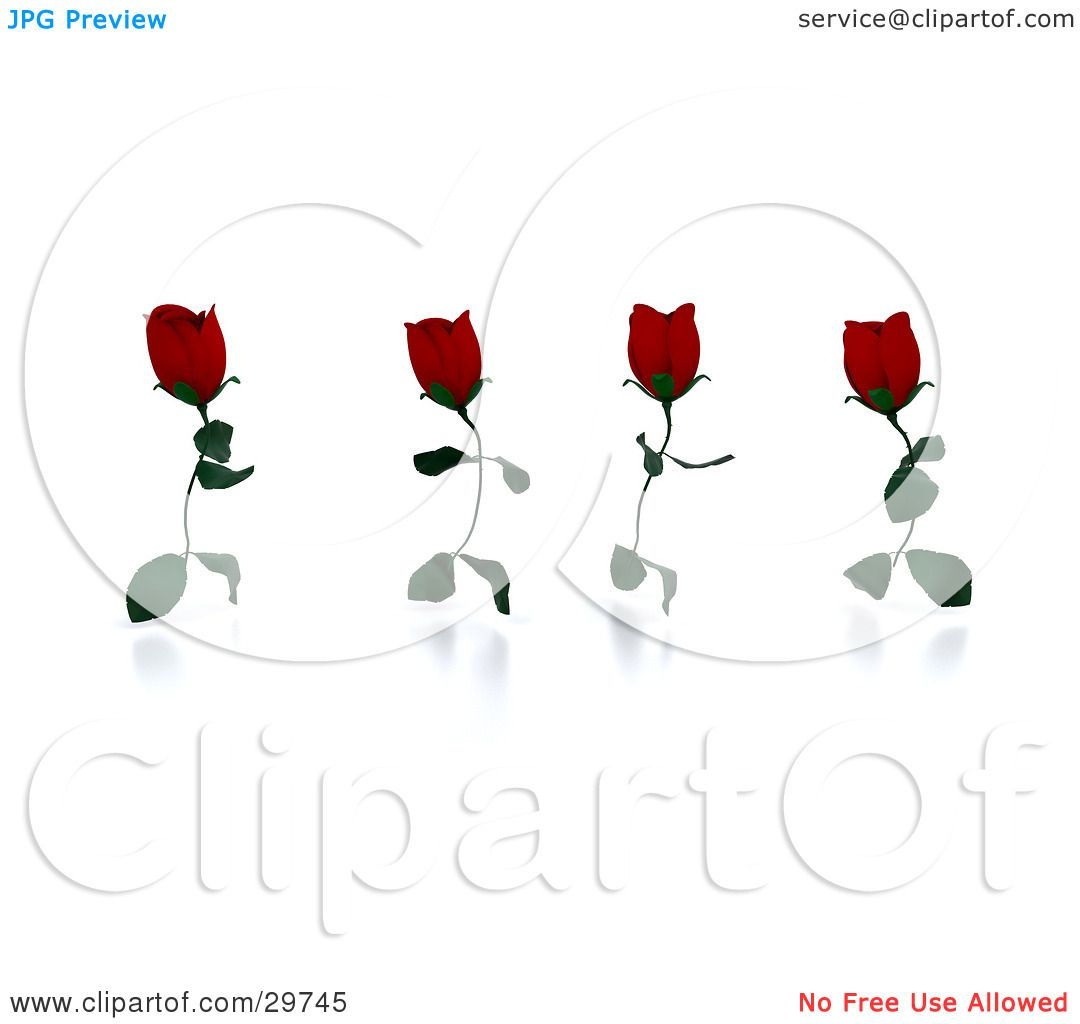 Clipart Illustration Of Four Running Red Roses With Leaves