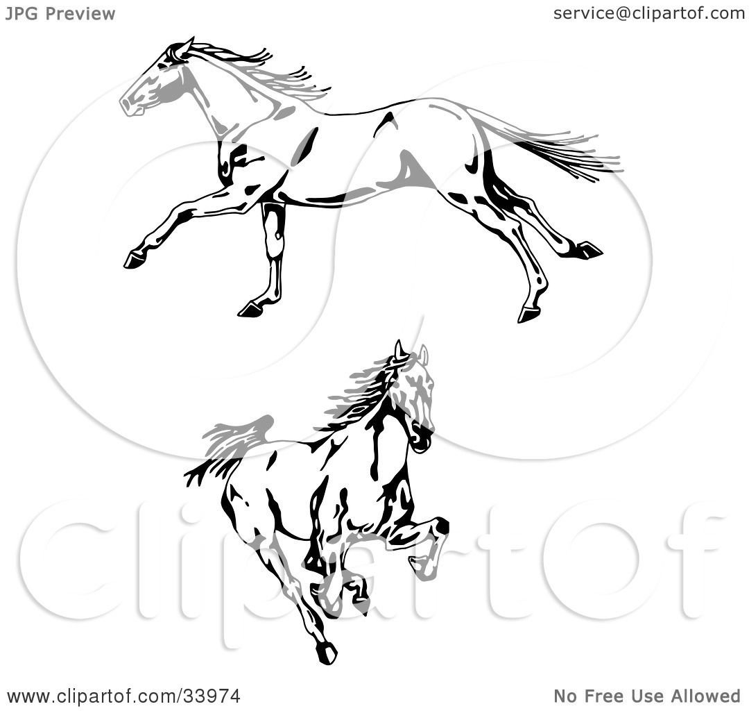 Clipart Illustration Of Two Galloping Wild Horses One In