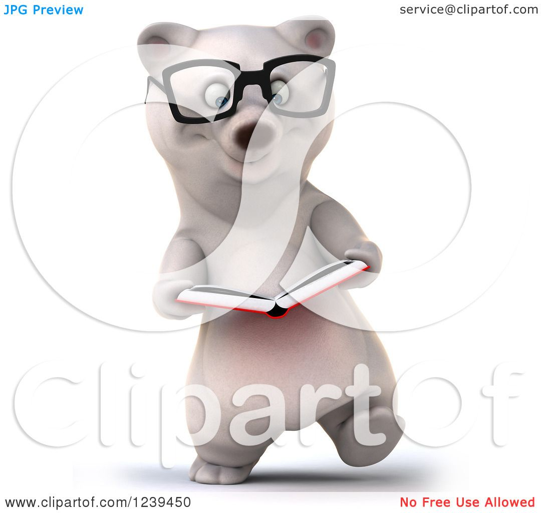 Clipart Of A 3d Bespectacled Polar Bear Walking And