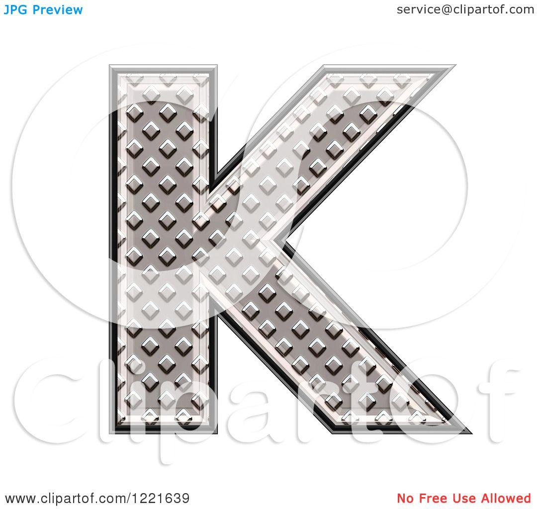 Clipart Of A 3d Diamond Plate Capital Letter K