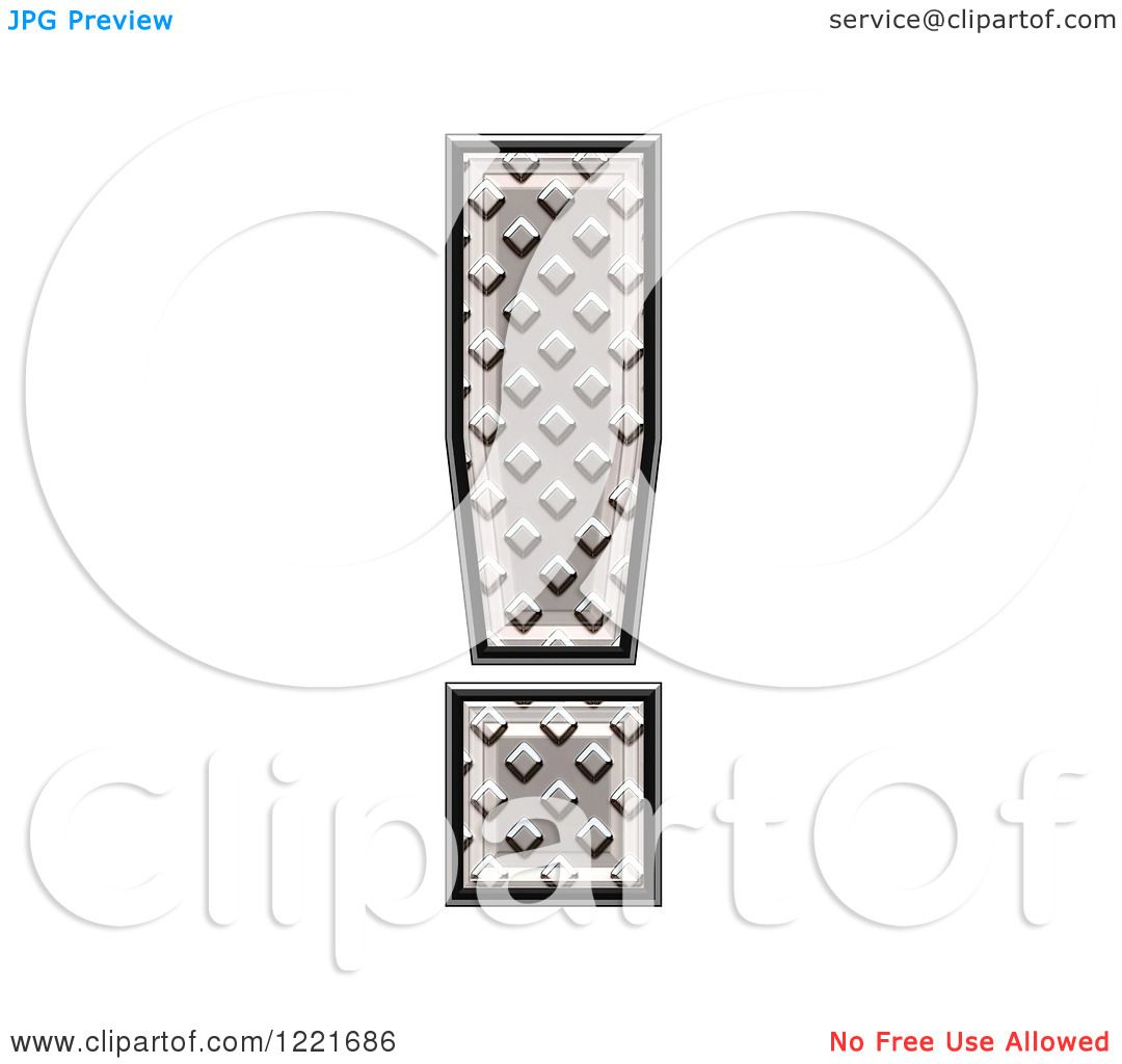 Clipart Of A 3d Diamond Plate Exclamation Point Symbol