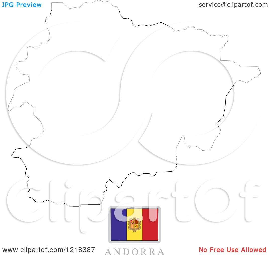 Clipart Of A Andorra Flag And Map Outline
