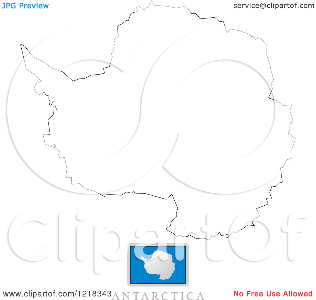 Clipart Of A Antarctica Flag And Map Outline