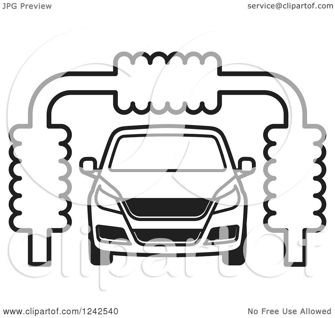 Clipart Of A B Ack And White Automobile In A Car Wash