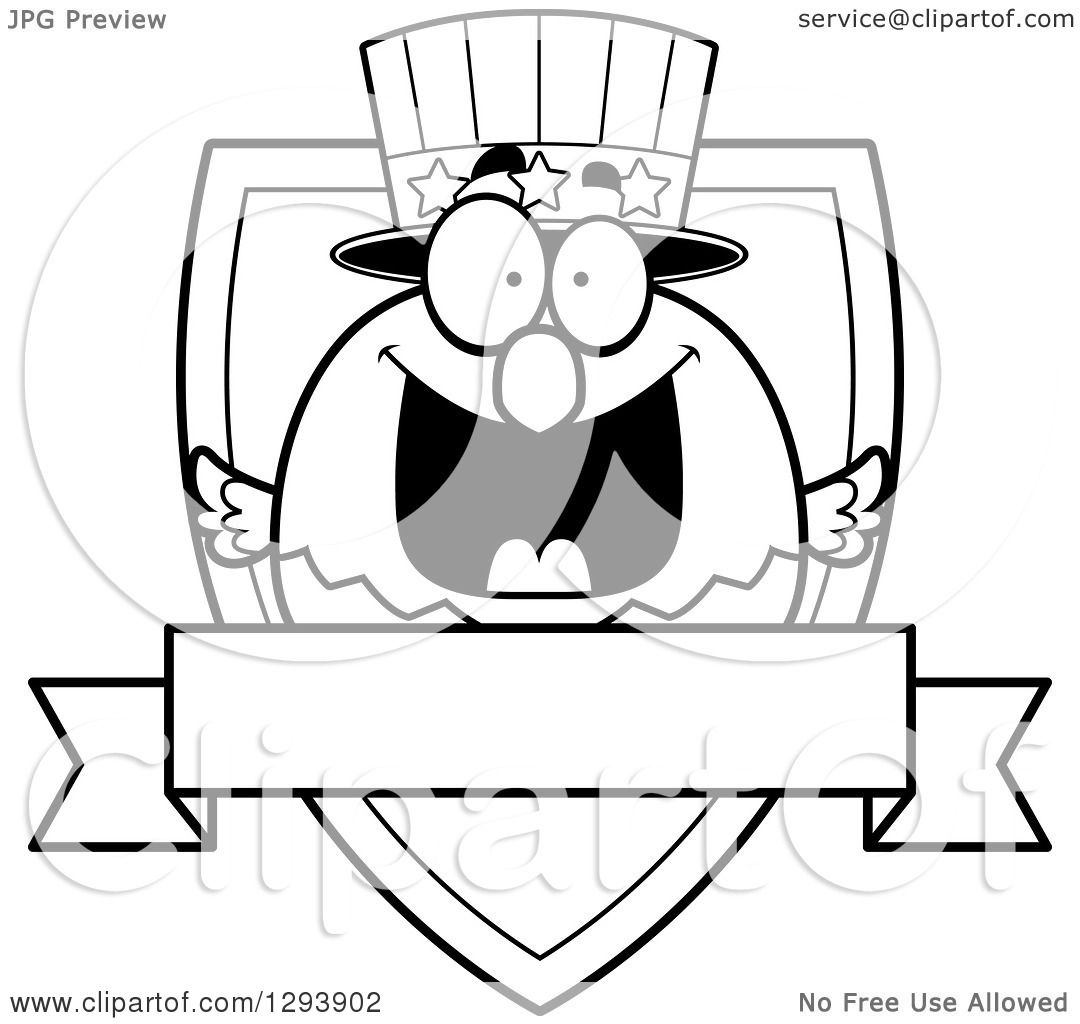 Clipart Of A Badge Or Label Of A Patriotic Black And White American Blad Eagle Shield And Blank