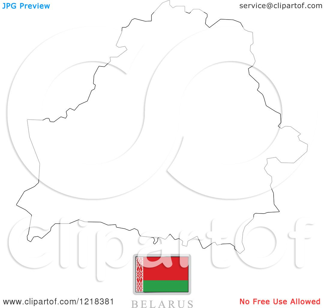 Clipart Of A Belarus Flag And Map Outline