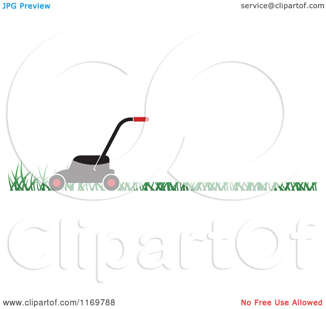 Clipart Of A Black And Red Push Lawn Mower On Grass