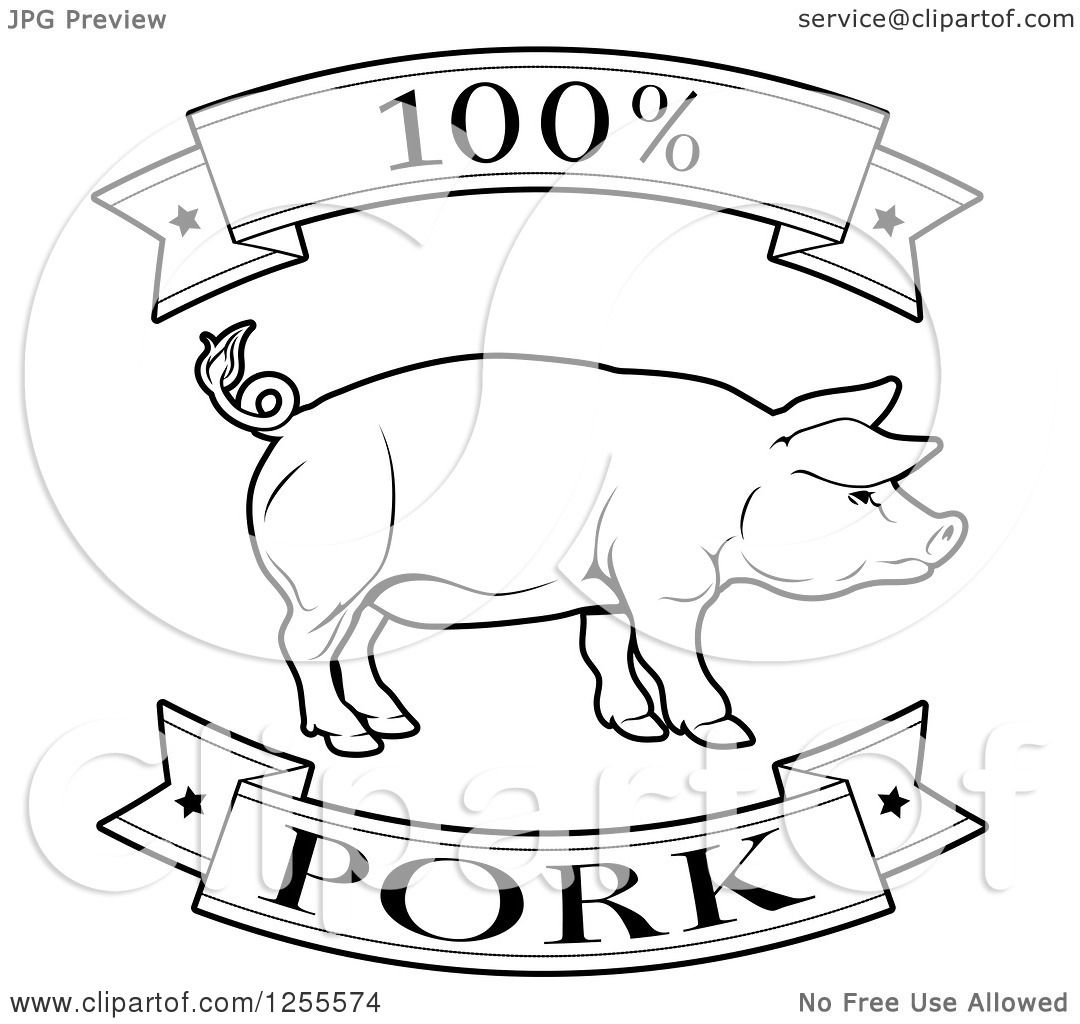 Clipart Of A Black And White 100 Percent Pork Food Banners