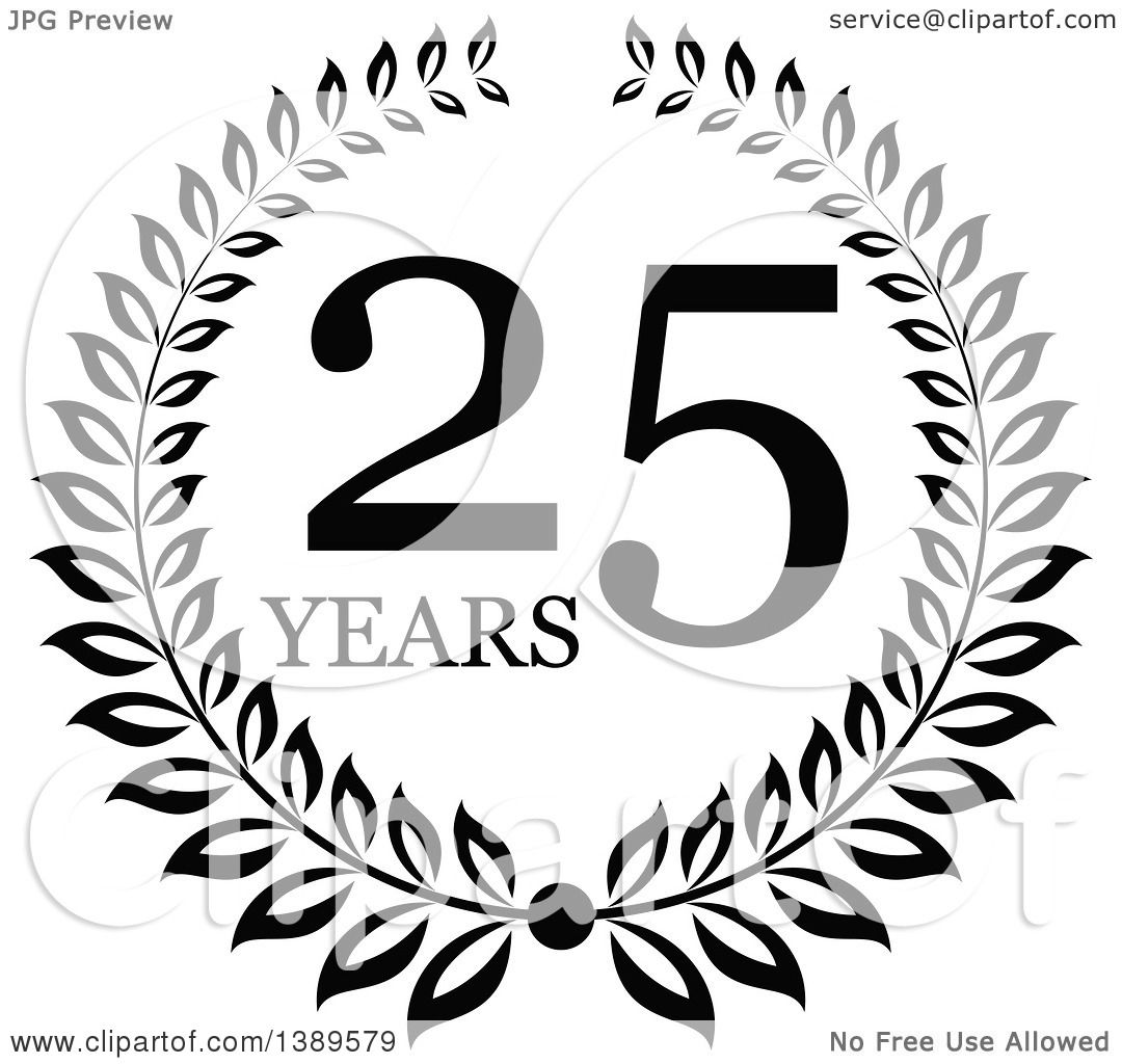 Clipart Of A Black And White 25 Year Anniversary Wreath