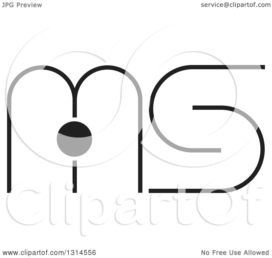 Clipart Of A Black And White Abstract Letter M I S Design