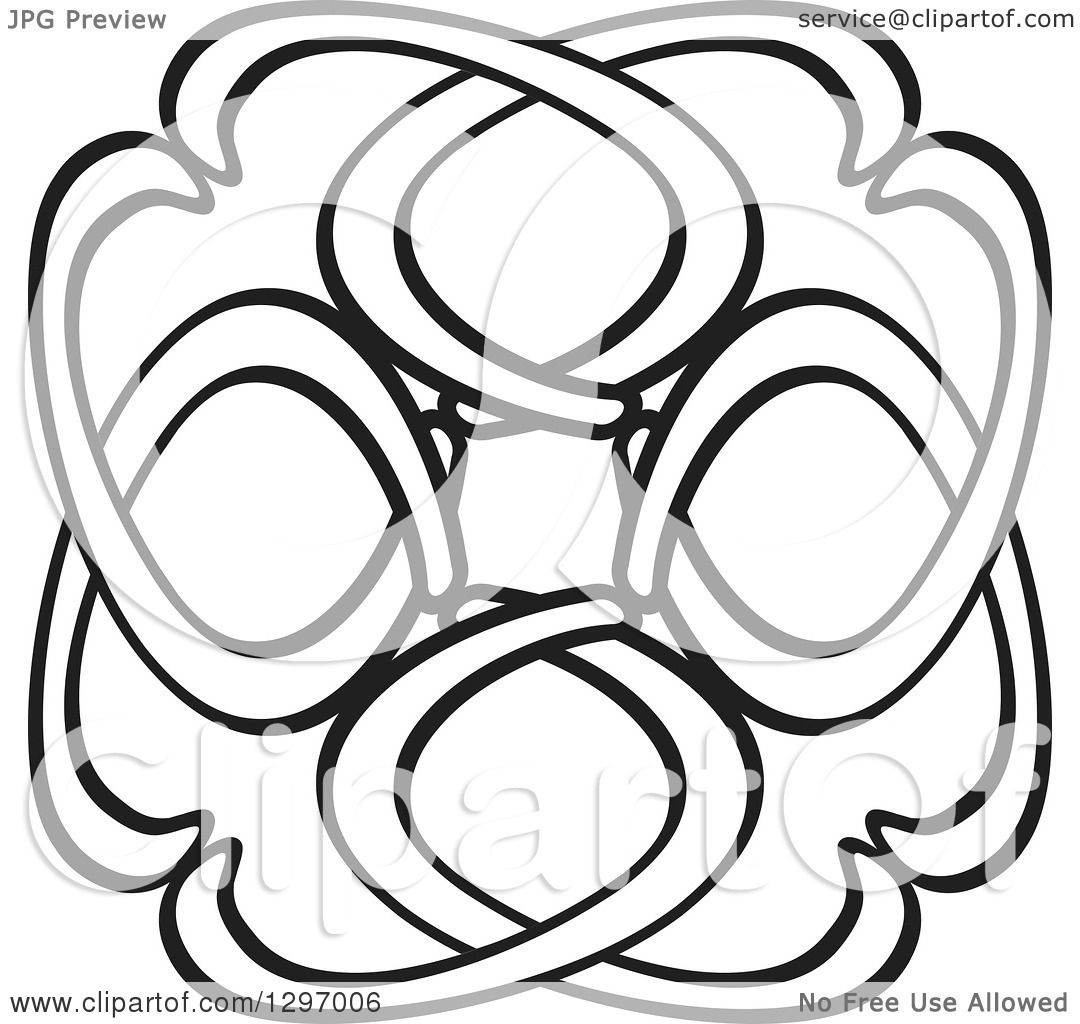 Clipart Of A Black And White Abstract Ribbon Design
