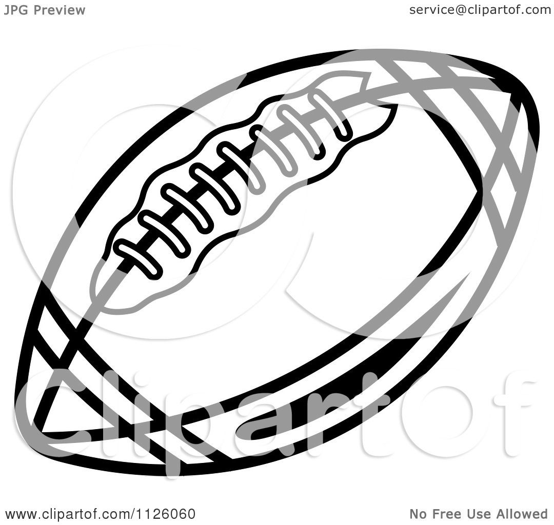 Clipart Of A Black And White American Football 5