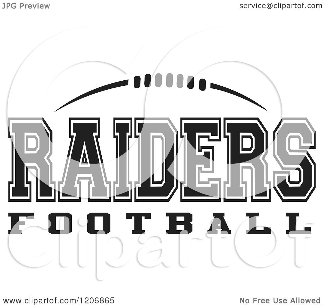 Clipart Of A Black And White American Football And Raiders