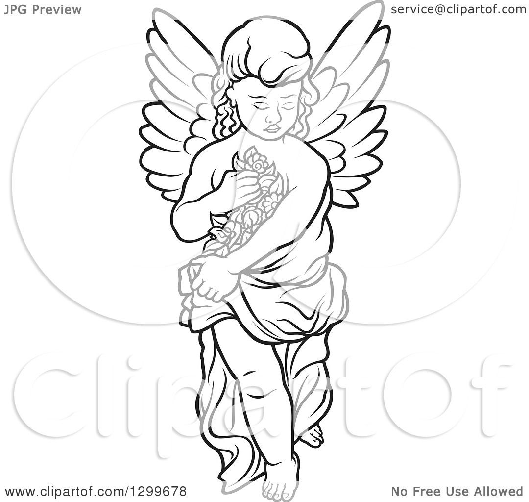 Clipart Of A Black And White Angel Carrying Flowers