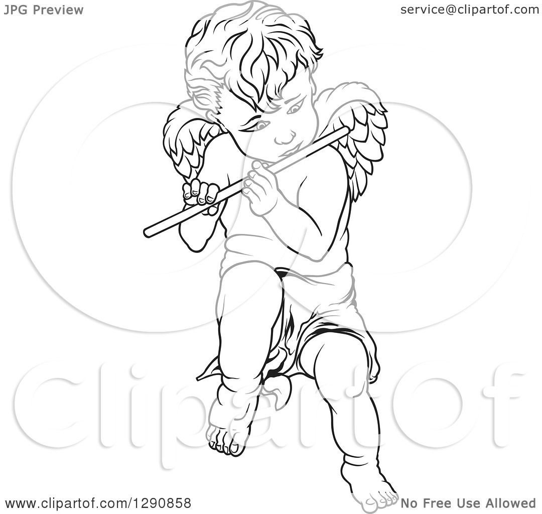 Clipart Of A Black And White Angel Playing A Flute