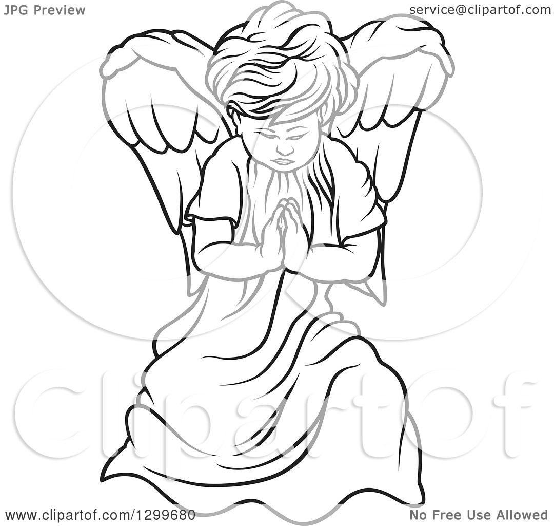 Clipart Of A Black And White Angel Praying