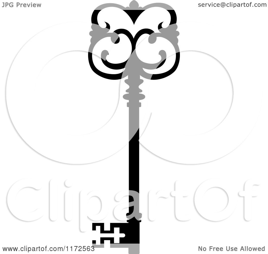 Clipart Of A Black And White Antique Skeleton Key 13