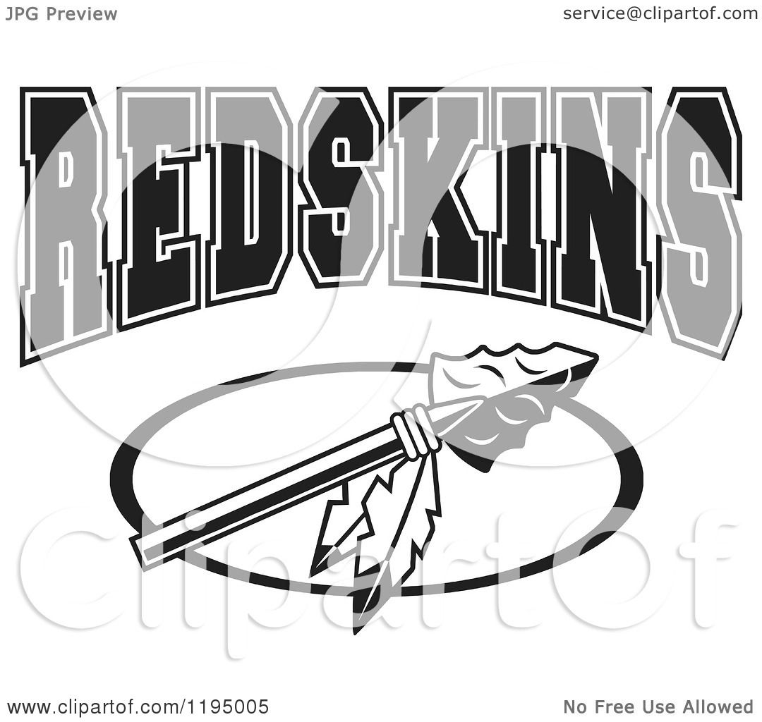 Clipart Of A Black And White Arrowhead With Feathers And