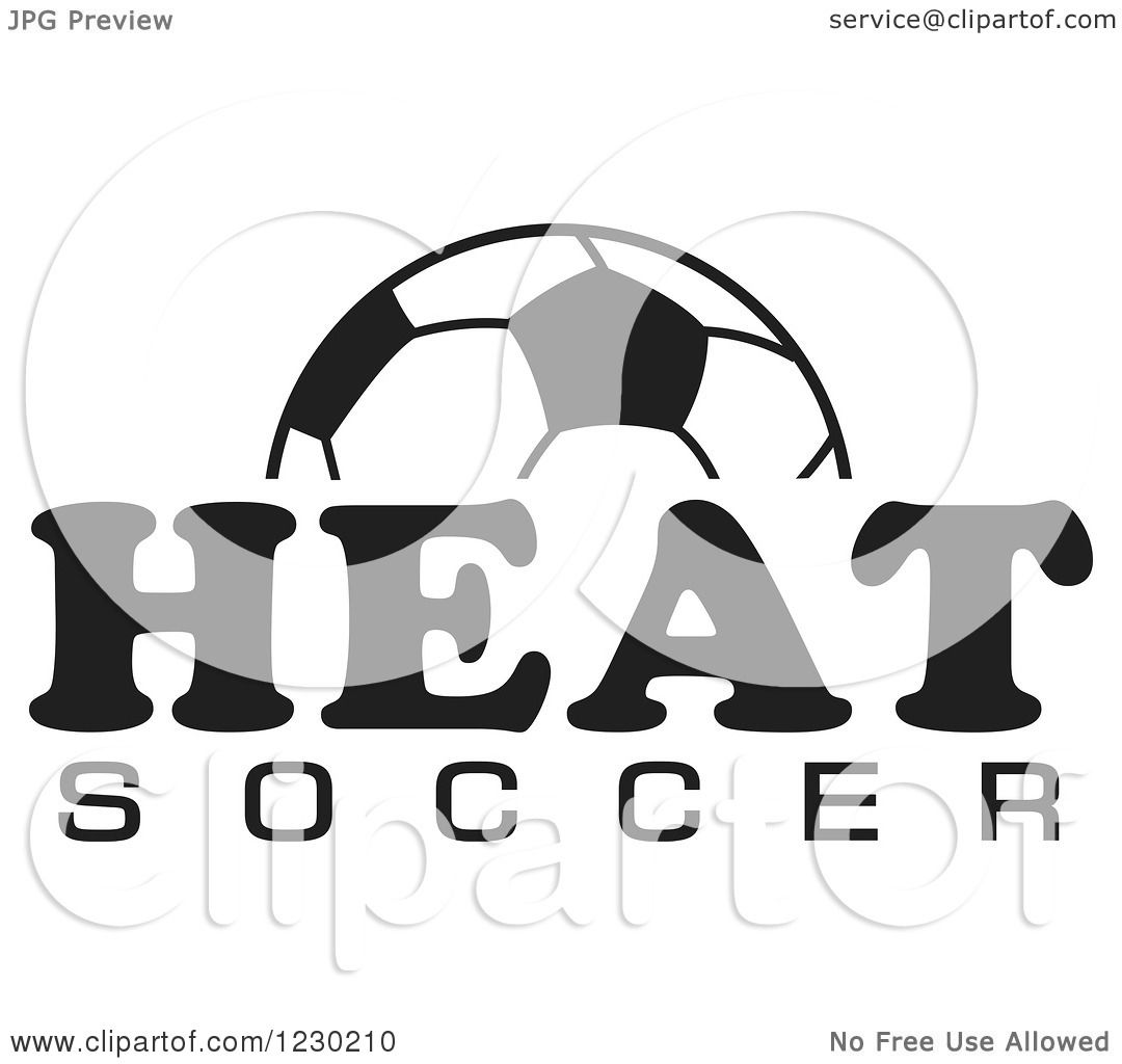 Clipart Of A Black And White Ball And Heat Soccer Team