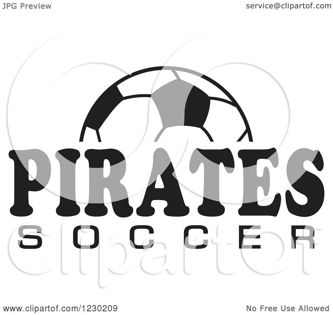 Clipart Of A Black And White Ball And Pirates Soccer Team